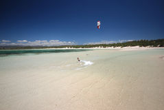 Kiter in Madagascar wind. Flying over the Indian Ocean royalty free stock images