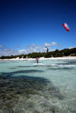 Kiter in Madagascar wind. Flying over the Indian Ocean royalty free stock photo