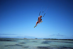 Kiter in Madagascar wind. Flying over the Indian Ocean Stock Image