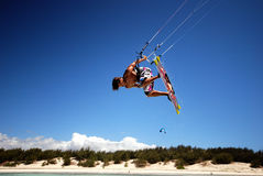 Kiter in Madagascar wind. Flying over the Indian Ocean Royalty Free Stock Photography