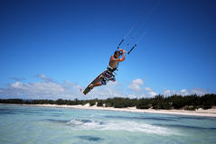 Kiter in Madagascar wind. Flying over the Indian Ocean Stock Photos