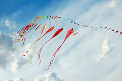 Kites. Colourful kites in the sky royalty free stock images