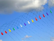 Kites. Colorful kites with long tails Royalty Free Stock Images