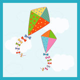 Kites. Illustration of two colorful kites with pattern fills Stock Images