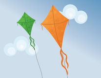 Kites. Flying in a blue sky Stock Illustration