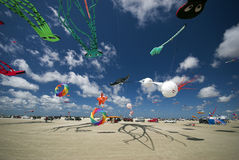 Kites all over the beach royalty free stock photography
