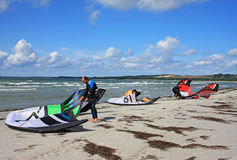 Kites on beach Stock Photography