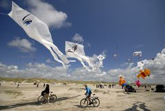 Kites and bicycles Stock Photos