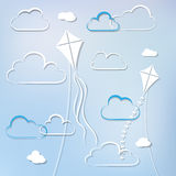 Kites and clouds Royalty Free Stock Photo