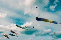 Kites of different shapes in the cloudy sky royalty free stock photo