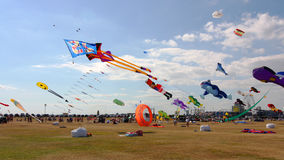 Kites at festival, Portsmouth, Hampshire, England Royalty Free Stock Image