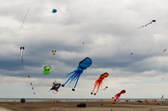 Kites Festival Wildwood, New Jersey. Kites high in the ocean breeze colorfully decorating the sky. Kite festival in Wildwood New Jersey Memorial Day Weekend Royalty Free Stock Image