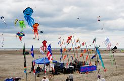 Kites Festival Wildwood, New Jersey. Kites high in the ocean breeze colorfully decorating the sky. Kite festival in Wildwood New Jersey Memorial Day Weekend Stock Images