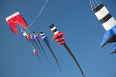 Kites Flying in a Bright Blue Sky. Stock Images