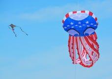 Kites flying over Treasure Island Beach, Florida. The Treasure Island Beach Kite Festival on the Gulf of Mexico, Florida royalty free stock image