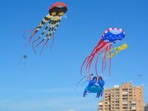 Kites flying over Treasure Island Beach, Florida. The Treasure Island Beach Kite Festival on the Gulf of Mexico, Florida royalty free stock photos