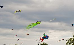 Kites. High in the ocean breeze colorfully decorating the sky Stock Photo