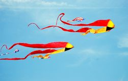 Kites. High in the ocean breeze colorfully decorating the sky Royalty Free Stock Photography
