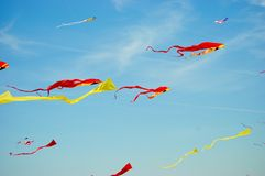 Kites. High in the ocean breeze colorfully decorating the sky Royalty Free Stock Images