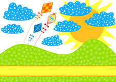 Kites on a Hill Invitation Card. Invitation card with flying kites on a hill in a sunny day Royalty Free Stock Image