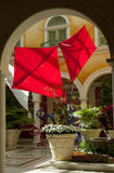 Kites inside a hotel lobby Stock Photo