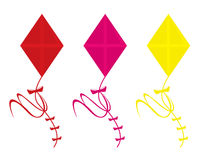 Kites isolated. Three kite color variations isolated on a white background vector illustration