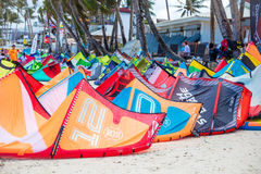 Kites left to dry at Bulabog beach, one of the most sought-after spots for kiteboarding Royalty Free Stock Photo