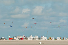 Kites over the beach at Ording Stock Photo