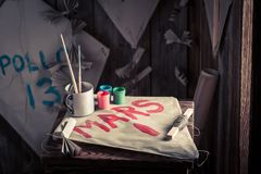 Kites and paints with space missions names. Retro style Royalty Free Stock Photos