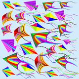 Kites Rainbow Colors in the Wind Royalty Free Stock Photos