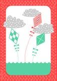Kites Retro Invitation Card Royalty Free Stock Photography