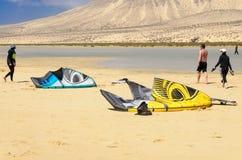 Kites on the sandy beach stock image