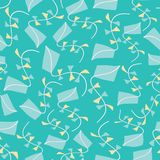 Kites seamless texture pattern background. Flying kites vector illustration for fabric, wallpaper, scrapbooking projects royalty free stock images