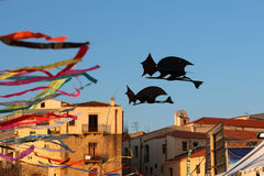 Kites in the shape of a witch Stock Photography
