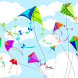Kites and sky with clouds horizontal seamless Stock Image