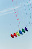 Kites in the sky. Colorful kite soaring against blue sky. Summer Kite Festival, Canal Days International Kite Show in  City of Port Colborne, Ontario, Canada Stock Image