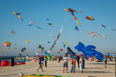 Kites. In the sky during Kite Festival in Dubai Stock Photos