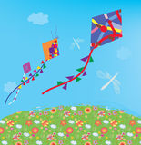Kites at the sky outdoor Royalty Free Stock Image