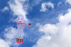 Kites in the Sky. Two kites flying in the blue sky Stock Images