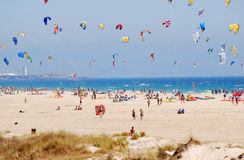 Kites in the sky waiting to fly away. The sky near Tarifa, kiters' paradise royalty free stock photo
