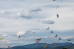 Kites. A view of many colorful kites, with a beautiful sky in the background Royalty Free Stock Images