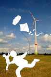Kites and wind turbine Royalty Free Stock Photo