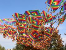 Kites in the wind. Waving in the wind colored kites stock footage