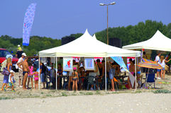 Kites workshop on the beach Royalty Free Stock Images