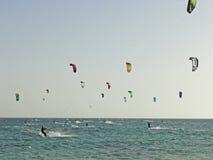 Kitesurf和风筝搭乘 免版税图库摄影