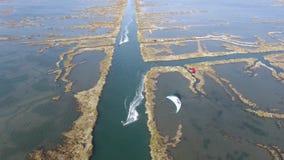 Kitesurf σε Murtosa, Ria de Αβέιρο απόθεμα βίντεο