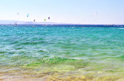 Kitesurf и windsurf остров Naxos Греция Стоковая Фотография RF