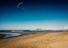 Kitesurf on the beach. Kitsurf on the beach 20 September 2017 Rimini.Italy Outflow on the Adriatic Sea Royalty Free Stock Images
