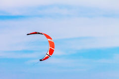 Kitesurf in the blue sky with clouds, sports background Stock Photography