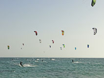 Kitesurf e embarque do papagaio Fotografia de Stock Royalty Free